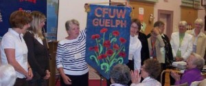 CFUW Guelph Textile Arts Group presents new banner