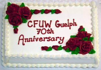 CFUW Guelph's 70th Anniversary cake